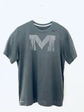 Nike DriFit Gray With M Letter crossfit Athletic Training Running Shirt Mens Xl