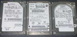Lot Of 3 Apple Hard Drives; Fujitsu 80GB,Hitachi 80 GB,IBM 30 GB Untested