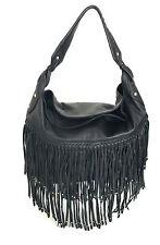 orYANY Stevie Black Napa Leather Fold Over Hobo Fringe Bronze Stud Handbag