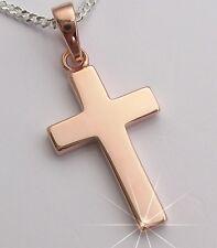 Kreuzanhänger Kreuz Anhänger Echt Silber Rose Gold Kette Kommunion Konfirmation