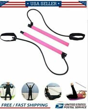 Pilates Bar Kit Resistance Band Exercise Stick Toning Yoga Gym Portable Fitness