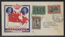 1939 Canada Royal Visit Set Fdc - Mail Train Postmark - Province Map Cachet