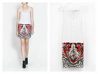 ZARA WHITE COMBINATION DRESS WITH EMBELLISHED EMBROIDERY SEQUIN SKIRT - NEW