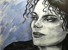 Black & White Watercolor Michael Jackson Curly Hair Music Song Pop King Art 5x7