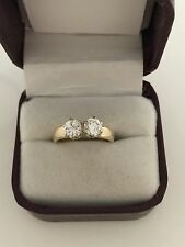 14k Yellow Gold 1ct Double .50ct Round Diamond Engagement Wedding Ring Unique