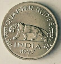1947 BRITISH INDIA 1/4 RUPEE - AU/UNC - Rare Vintage Coin - lot #A13