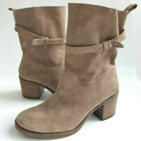Lucky Brand Womens Ramsey Ankle Boots Brown Suede Leather Block Heel 9 M