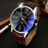 2018 Fashion Men's Leather Military Analog Quartz Wrist Watch Business Watches