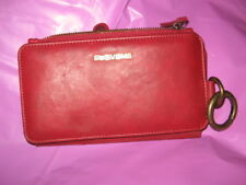 Floveme Genuine Leather Zipper Wallet Card Slot in RUSTIC RED SOFT LEATHER - NEW