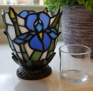 Partylite Tiffany Style Leaded Glass Iris Candle Holder Votive Tea Light