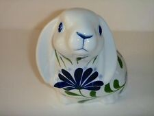 DANSK Hand Painted Easter Bunny Rabbit Blue White Floral Vintage 1998 w/Box