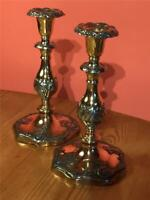 Pair Antique Brass Copper Candlesticks Pewter and Silver Plate Finish Arts Craft
