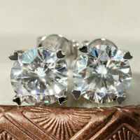 14K White Gold Finish 4Ct Round Moissanite Screw Back Solitaire Stud Earrings