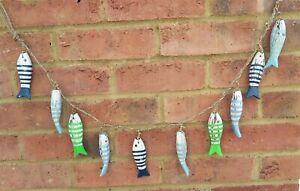 Handpainted String of 10 Fish Nautical Seaside Home Decoration Shabby Chic New
