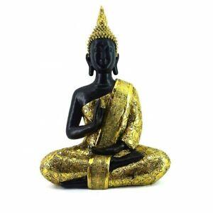 Buddha  FENG SHUI STATUE  Budda 39 cm Figur Garten Deko Wetterfest Gold Schwarz
