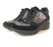 FORNARINA Shoes Black Suede Sequins Women SNEAKERS  USA Size 6.5