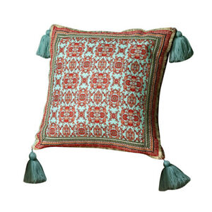 Floral Cushion Covers Pillow Cases Tassel Square Sofa Bed Throw Soft Home Decor