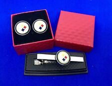 Pittsburgh Steelers Tie Bar & Cufflinks Logo Tie Clasp  Football Tie Clip NEW