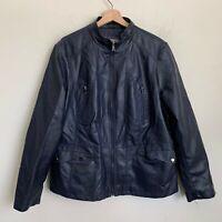 Roz & Ali Moto Jacket Faux Black Leather Zip Front Pockets Lined Size 2X