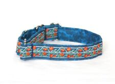 "1"" Small (whippet) Martingale Dog Collar Roses & Vines on Blue - Ribbon"