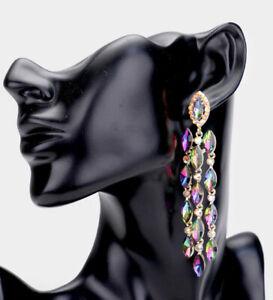 "3.7"" Vitrail Green Long Rhinestone Crystal Pageant Dangle Earrings Multicolor"