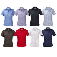 ENSEMBLE Womens New Classic Blouse Top Short Sleeve Open Neck Casual Work Shirt