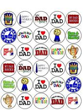 30 *PRE-CUT* HAPPY FATHERS DAY DAD CUP CAKE EDIBLE RICE WAFER PAPER TOPPERS