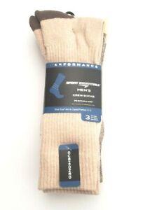 Performance Men 3-Pk Moisture Wicking Cushion Crew Socks Tan/Brown SZ L (6-12)
