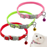 3/30pcs Small Dog Puppy Cat Collar with Bell for Kitty Kitten 12-24cm Adjustable