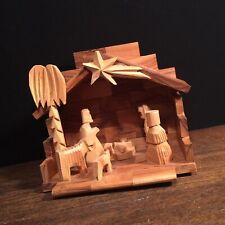 Vtg Nativity Scene Olive Wood Carved in Bethlehem Jesus Mary Joseph Christmas a
