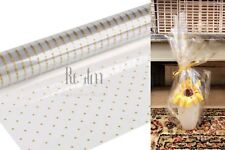 Gold Doted Clear Cellophane Wrapping Gift Paper | Wedding Birthday Hampers Wrap