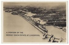 LIVERPOOL Mersey Dock Estate Aerial View, RP Postcard by Harbour Board Unused