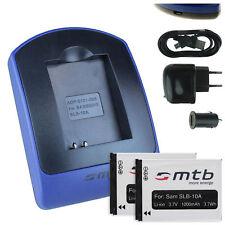 2x Baterìas + USB Cargador SLB-10A para Samsung WB850F, WB855F, WB2100