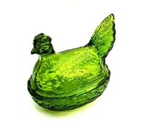 L.E. Smith Glass pistachio color Chick Hen chicken on a nest