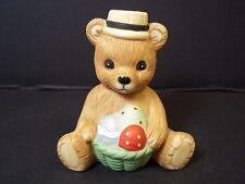 """Homco Calendar teddy bear figurine Easter Basket of eggs 2"""" tall"""