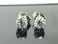 14kt White Gold Classic 0.70ctw Round Diamond 4.5mm Push Backs Stud Earrings