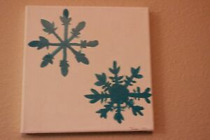 2 Blue snowflakes painting on a white background 8x8 canvas