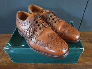 Loake Mens Tan Leather Derby Brogue Shoes - Size 7.5