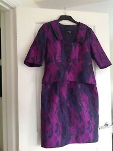FEE G PURPLE/NAVY DRESS & JACKET SIZE 14 EX CONDITION WORN ONCE