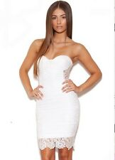 White sheer strapless lace bandage dress
