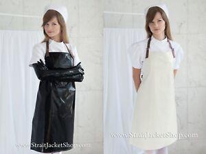 Black or Ecru PVC Apron with Leather Straps - Medical / Waterproof / Nurse