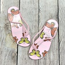 Sole Selection Size Medium 7/8 Multicolored Butterfly Flip Flops Sandals