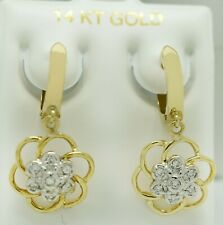 GENUINE 0.28 Cts DIAMOND DANGLING EARRINGS 14K YELLOW GOLD  * Made in USA