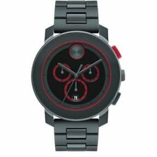Movado Bold Chronograph Black Dial Grey Band Quartz Mens Watch 3600272 NIB