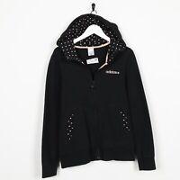 Vintage Women's ADIDAS NEO Small Logo Zip Up Hoodie Sweatshirt Black | Medium M