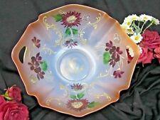 "ANTIQUE Mt Washington GLASS bowl PEACH-BLOW Crown Milano HANDPAINTED signed 12"""