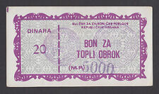 BOSNIA  5000 on 20 Dinara ND1991 General Affairs of the Rep Governm.-Directorate