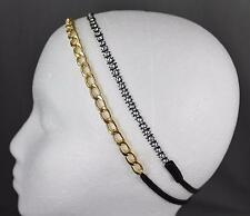 set of 2 headband Gold chain link black stretch elastic thin skinny hair band