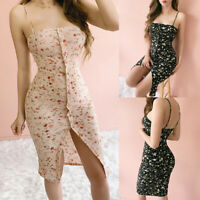 Womens Summer Split Floral Bodycon Wrap Party Backless Ladies Casual Mini Dress