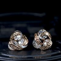 18k yellow gold gp made with SWAROVSKI crystal 3 stones infinity stud earrings